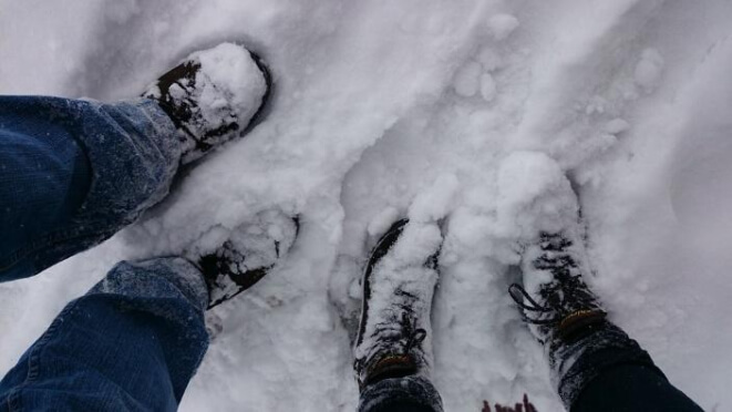 snow-covered shoes